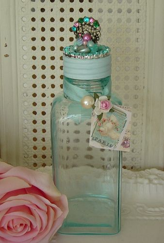 Vintage Aqua Glass Vanity Jar | Flickr - Photo Sharing!