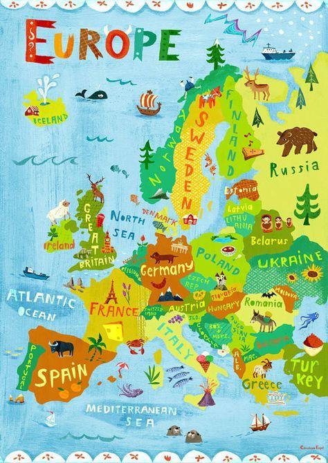Illustration carte Europe / numérique tirage poster / Kids Room Wall Art Decor / voyage enfants apprentissage géographie Suède Allemagne Italie France
