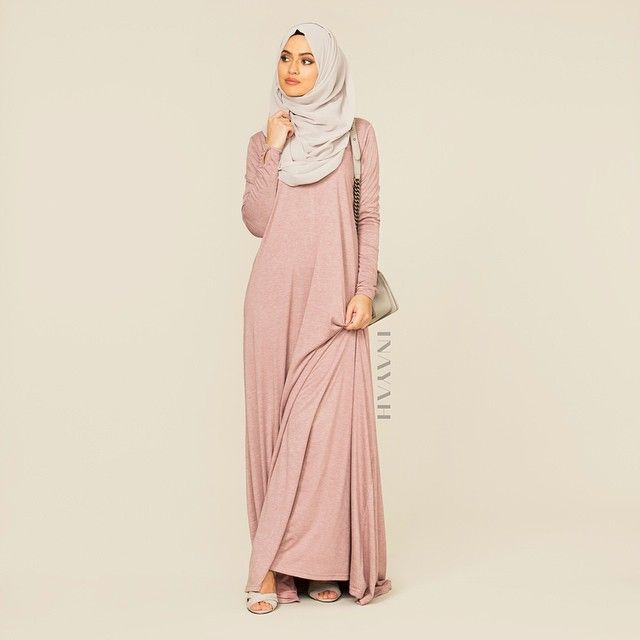 INAYAH | Blush High Neck Cotton Abaya + Feather Grey Maxi Georgette Hijab | www.inayahcollection.com