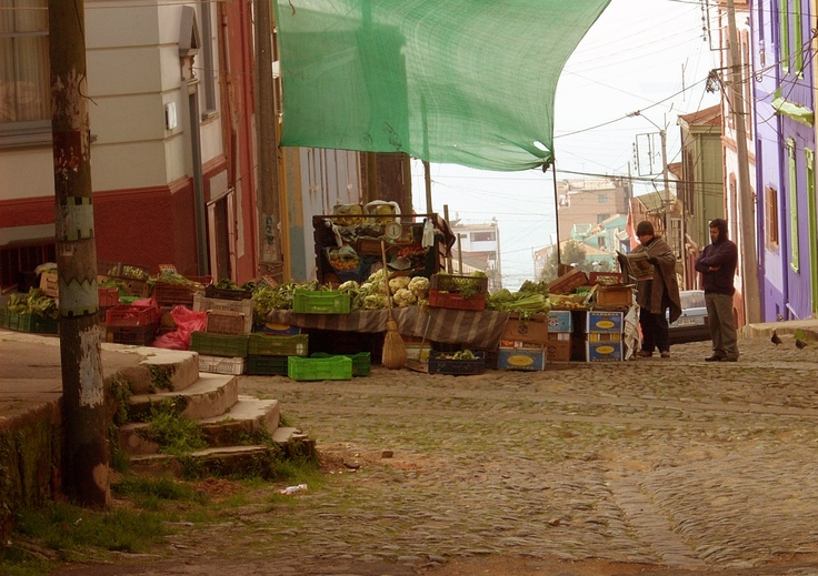This is a green grocer located in Cerro Alegre, Valparaiso. Fruits are cheap in my country.