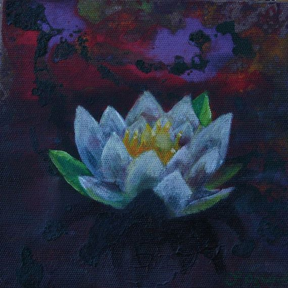 6x6 inches oil painting on canvas white lotus