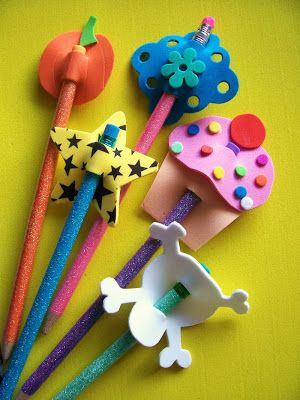 Here's 4 super duper fun projects ALL using craft foam. Have fun!   #1: PENCIL TOPPERS  I found this first idea while browsing through a Wo...