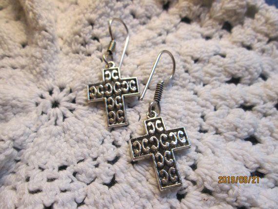 Vintage Handmade Tibetan Silver Detailed Cross 925 French Wire Dangle Earrings, Wt. 4.4 Grams