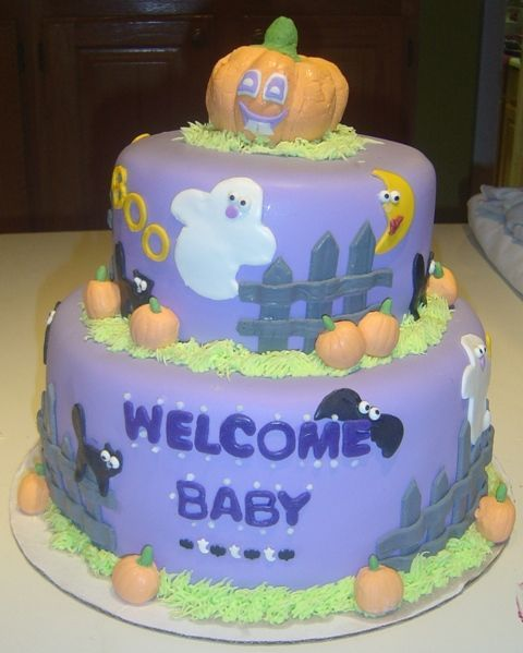 Halloween Baby Shower cake - my friend's favorite holiday is Halloween and she insisted that her baby shower have a halloween theme. this is what i came up with for the cake. all MMF.