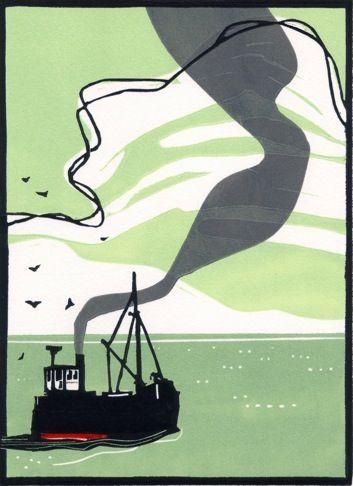 """A Puffer Off Arran"" - 3 block lino print - Colin Moore, U.K."