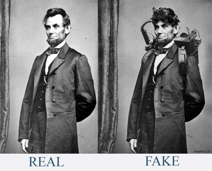 "Sorry Abraham Lincoln wasn't a 1800 Ghostbuster nor was he a vampire hunter. its easy to see it was  fake, here is the ""original"" photo next to the FAKE photo.  An extremely rare photograph of President Abraham Lincoln taken during his brief yet memorable stint as a paranormal investigator and eliminator circa 1864.~"