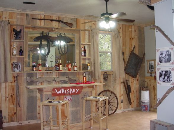 Man cave in the garage western room ideas game room for Western garage