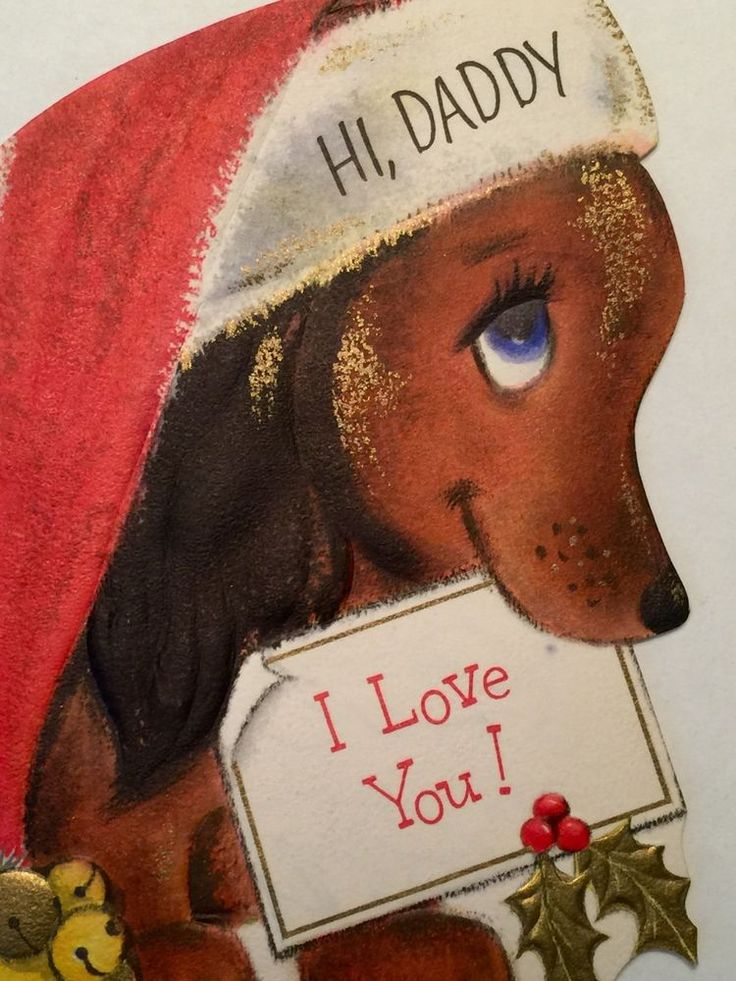 Cute Vintage Hallmark Christmas Greeting Card Dachshund