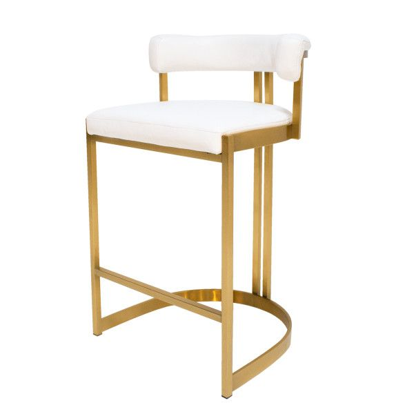 Ballantine Counter Stool In White Leather Brass Counter Stools