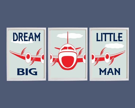 Dream Big Little Man Print, Airplane Art, Playroom Wall Art, Aviation Art, Boys Bedroom Wall Art, Nursery Wall Art, Airplane Nursery Decor
