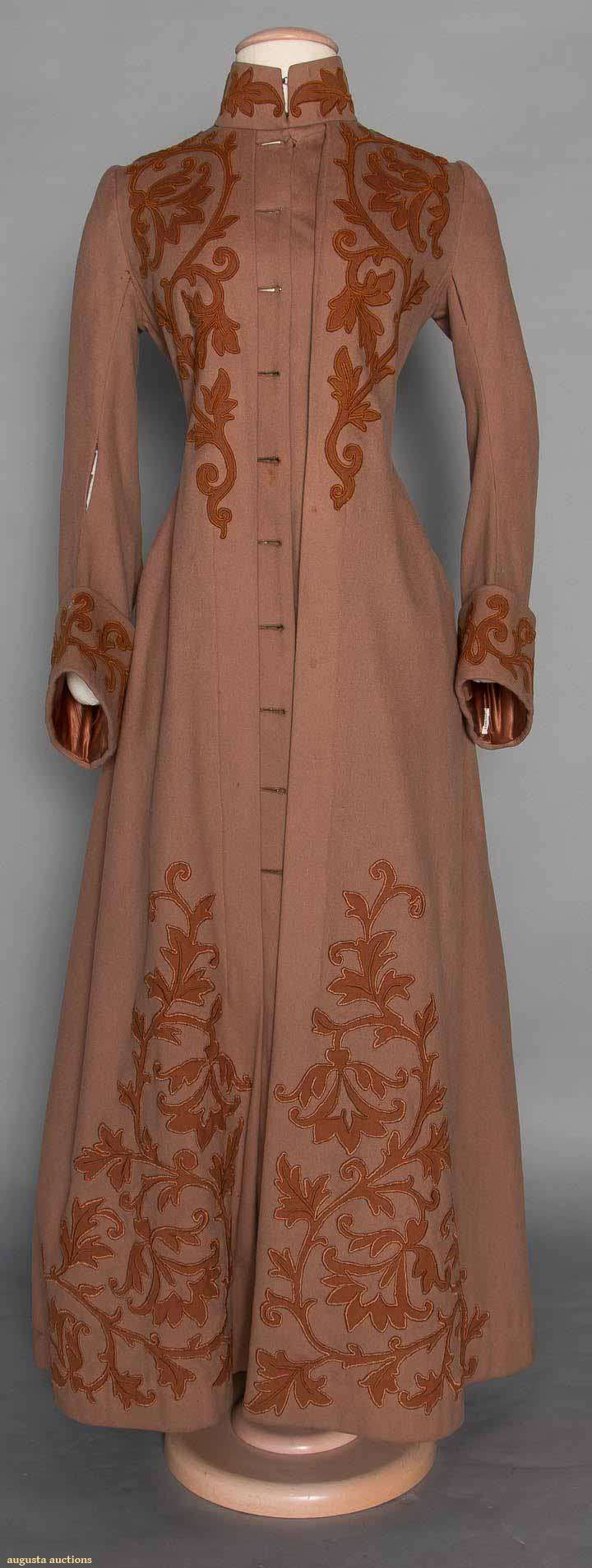 Appliquéd Wool Bustle Coat, C. 1888. For upcoming vintage and antique fashion and textile auction.