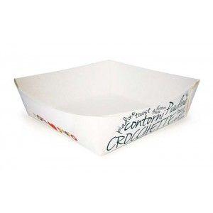Vaschetta in cartone per alimenti come crocchè, contorni, patatine. Confezioni da 250 pezzi. Acquista subito su www.confezionare.eu