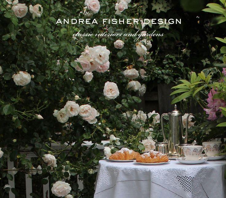 Garden design by Andrea Fisher. Classic Interior Design and Gardens. AndreaFisherDesign.com #englishgardens #scentedgardens #newyorkcitydesigner #citydesigner #englishroses #frenchroses #frenchgardens #gardendesigners #gardendesign #enchantinggardens #afternoontea #roses #englishchina #tiffany #silvercoffeeserver