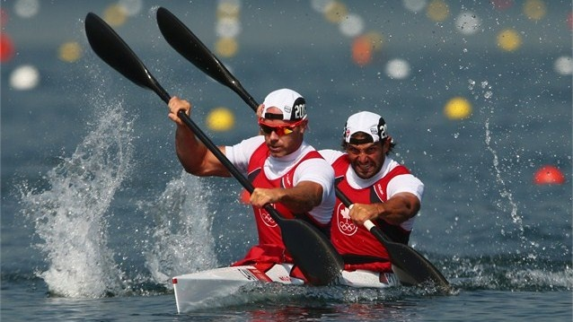 Ryan Cochrane (L) and Hugues Fournel of Canada during the Kayak Double (K2) 200m Canoe Sprint heats on Day 14 at Eton Dorney. They qualified for the final.