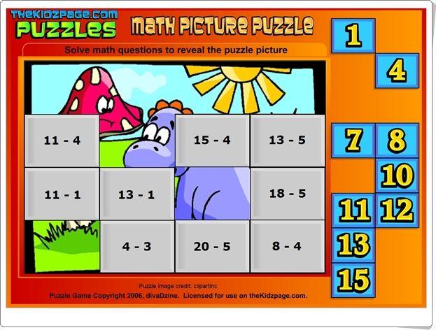 """""""Math Picture Puzzle"""" es un puzzle en el que las piezas se sitúan con los resultados de las restas indicadas en las casillas. Para practicar el cálculo mental con la resta por alumnos de 1º nivel de Educación Primaria."""