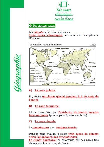 Leçon (Les zones climatiques sur la Terre)