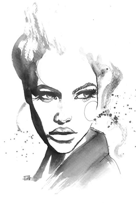 Fashion illustration - stylish portrait, fashion drawing ...