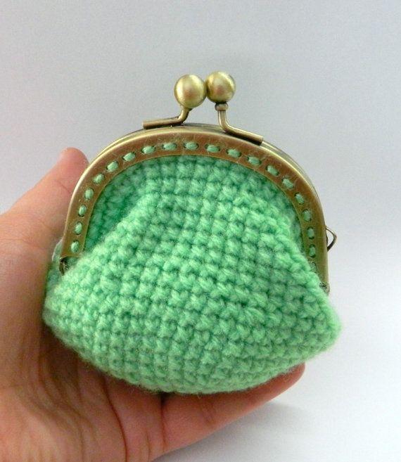Crochet green coin purse lime green metal frame purse by craftysou, $17.00