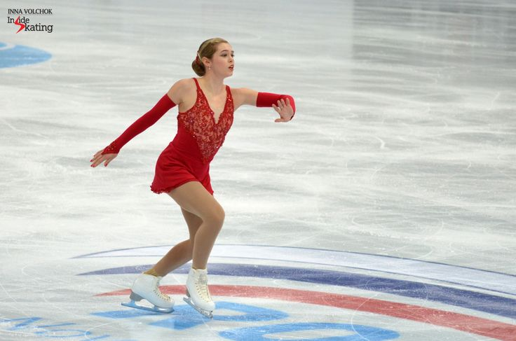 """Skating to """"La Leyenda del Beso"""" by Raul di Blasio, the Canadian Alaine Chartrand scored 61.18 points for her SP, a new season's best"""