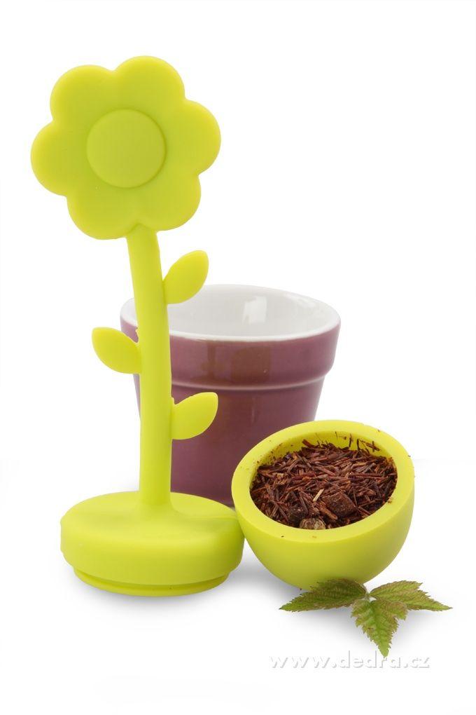 DOMÁCNOSŤ | Sitko na sypané čaje jasne zelené silikón / porcelán, výška 15 cm | DEDRA SLOVAKIA - darčeky do bytu a do domácnosti