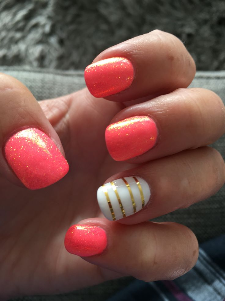 Today nails! Coral gel. Reflect glitter. Gold tape. White gel.