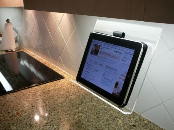 Want to keep your iPad off the counter, out of harm's way, but still accessible for recipe/cooking apps? This easy-to-install mount goes under your cabinets.