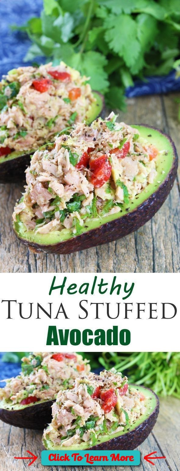 #FastestWayToLoseWeight by EATING, Click to learn more, Bell Pepper Recipe | tuna stuffed avocado is full of southwestern flavors with tuna, red bell pepper, jalapeno, cilantro, and lime. , #HealthyRecipes, #FitnessRecipes, #BurnFatRecipes, #WeightLossRecipes, #WeightLossDiets