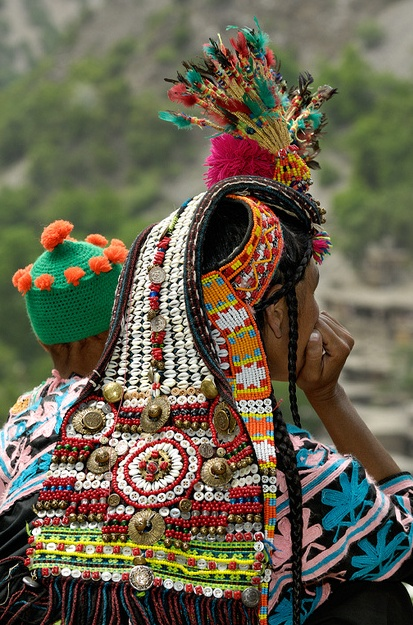Pakistan | Traditional Kalash woman's headdress.  The Kalash or Kalasha are a pagan tribe of Chitral, the northern district of the Pakistan's North-West Frontier Province (NWFP). They practice an ancient religion and lead a centuries old way of life.