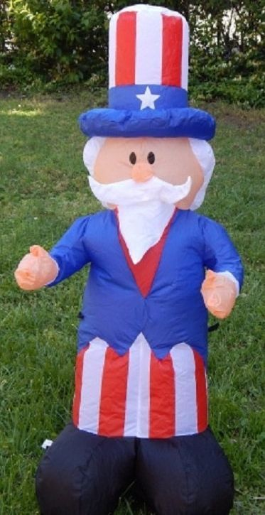 Uncle Sam Inflatable Yard Decor Memorial Day July 4th Red White Blue Patriot New