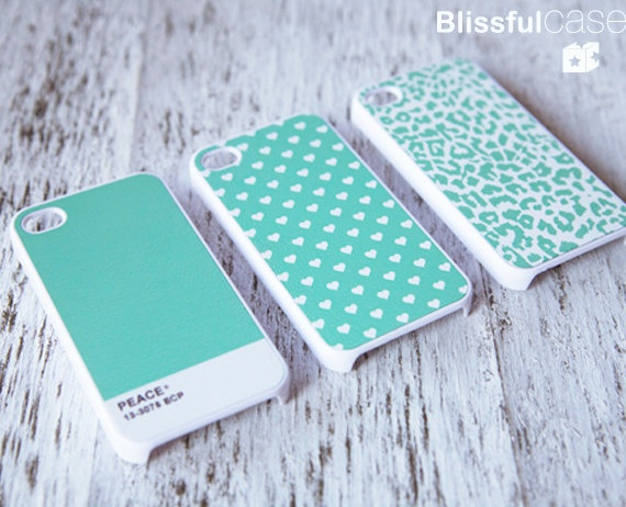 iPhone 4 Case for friendship - triple version: mint colortone, polka dots and leopard case