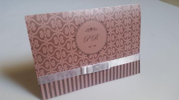Convite casamento papel perolado/ rosa