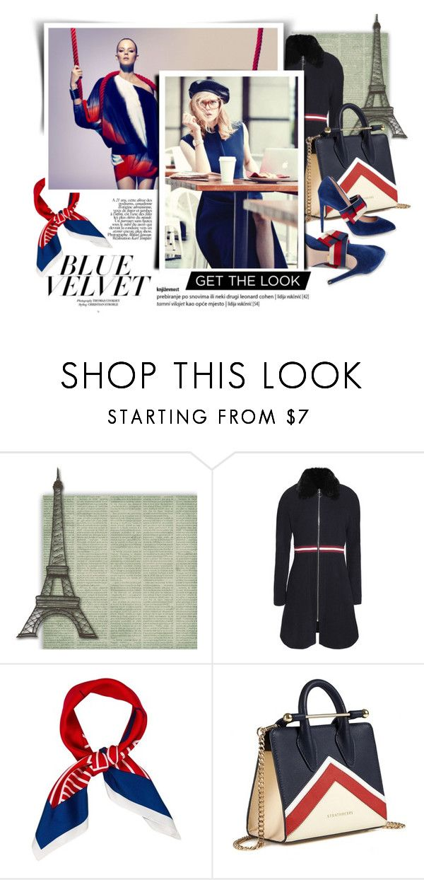 """""""Blue Velvet"""" by atikazahra on Polyvore featuring Maje, self-portrait, Strathberry, Gucci and Plein Sud"""
