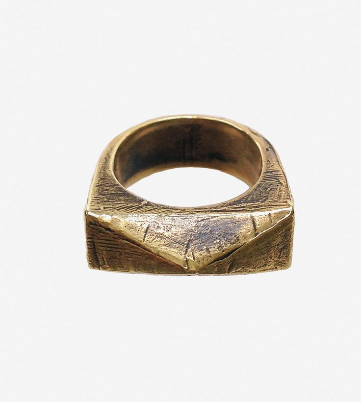 Brass Pyramid Signet Ring by Robbie Simon Jewelry on Scoutmob