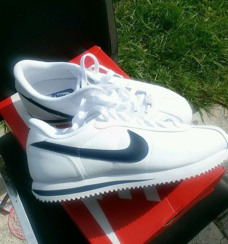 Nike Cortez Basic Leather Casual Shoe classic summer foot wear white navy  blue Nike RunningCrossTraining  great prices  Pinterest  Nike cortez,  ...