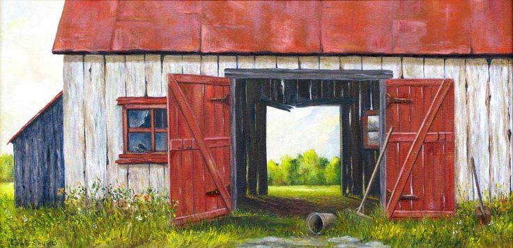 """Gino Sauro -  Au travers la grange - Huile sur toile - 24"""" x 12"""""""