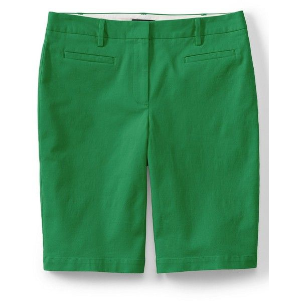 Lands' End Women's Petite Mid Rise 10 Chino Bermuda Shorts ($39) ❤ liked on Polyvore featuring shorts, green, green shorts, petite shorts, lands' end, flat-front shorts and slim fit shorts
