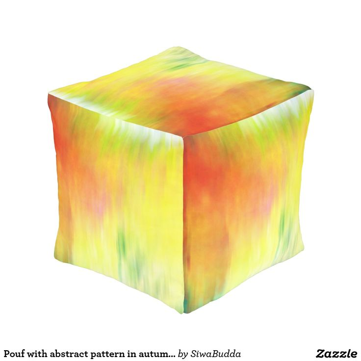 Pouf with abstract pattern in autumn colors cube pouf