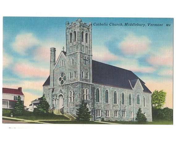 This vintage linen postcard, circa 1940s, depicts Assumption of the Blessed Virgin Mary (St. Mary's) Catholic Church in Middlebury, Vermont. The parish was founded in 1838, and the Romanesque-revival stone building was dedicated in 1912.