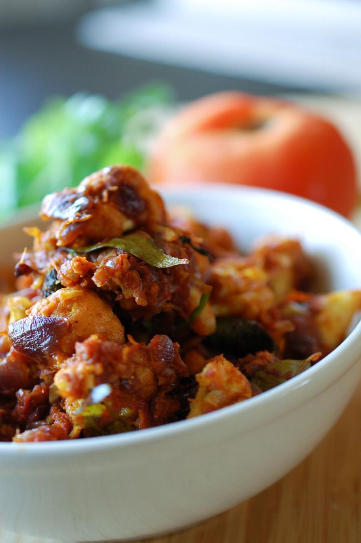 Fried and sauted cauliflower in spicy masala gravy