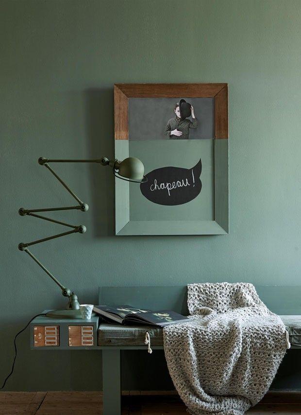 Vintage D cor do dia ambiente verde e monocrom tico