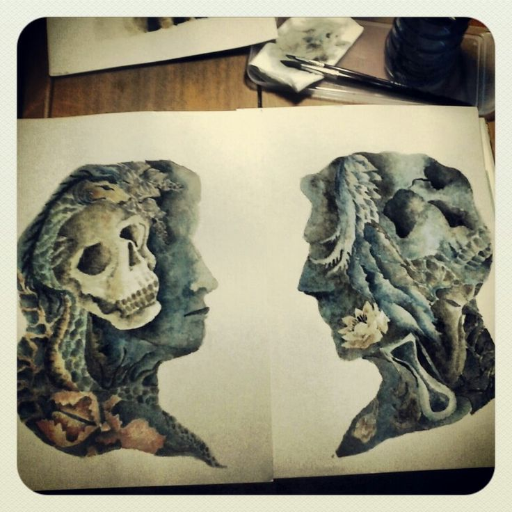 Couple Series, watercolor on paper, by Mia Diwasasri