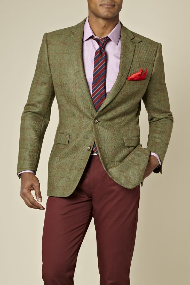 This combination of an olive green plaid blazer jacket and burgundy chinos is perfect for a night out or smart-casual occasions.  Shop this look for $162:  http://lookastic.com/men/looks/long-sleeve-shirt-tie-pocket-square-blazer-chinos/7668  — Pink Long Sleeve Shirt  — Red and Navy Vertical Striped Tie  — Red Pocket Square  — Olive Plaid Blazer  — Burgundy Chinos