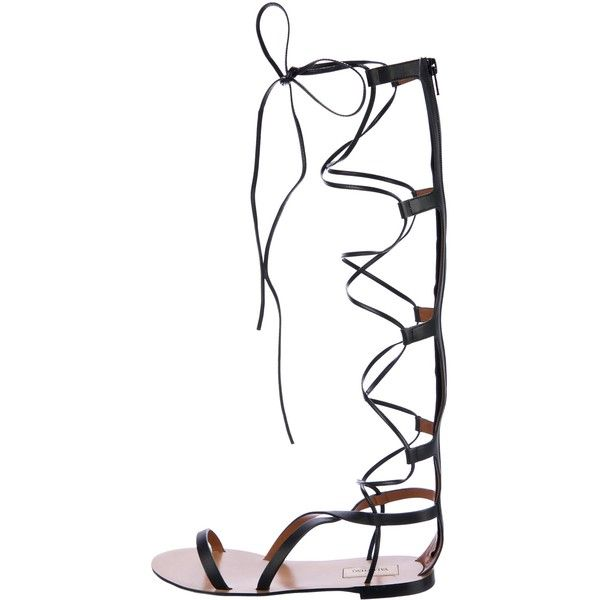 Pre-owned Valentino Leather Gladiator Sandals (€435) ❤ liked on Polyvore featuring shoes, sandals, black, lace-up gladiator sandals, roman sandals, lace-up sandals, black shoes and black leather sandals