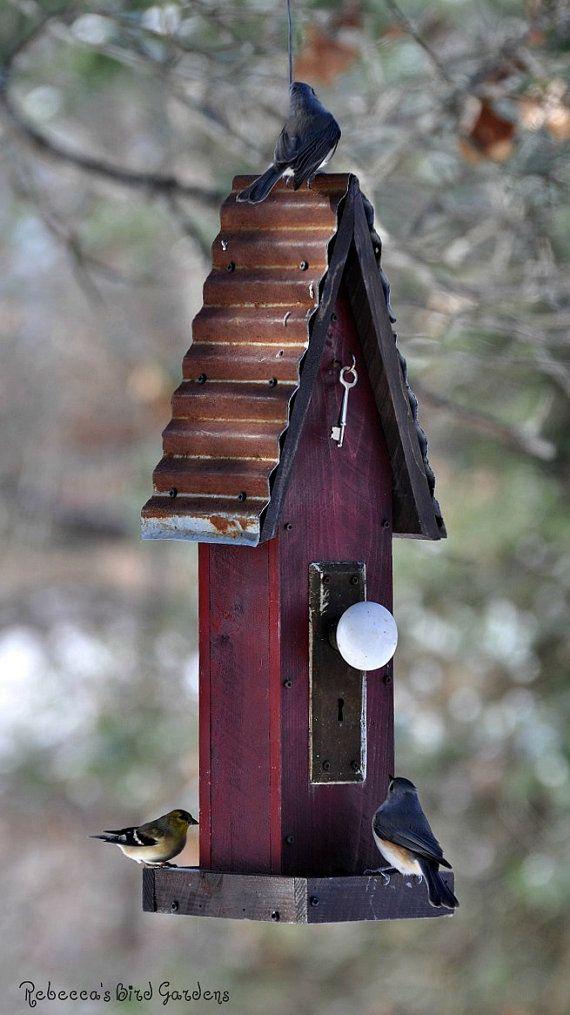Rustic BirdFeeder ~The Diner~ by RebeccasBirdGardens on Etsy