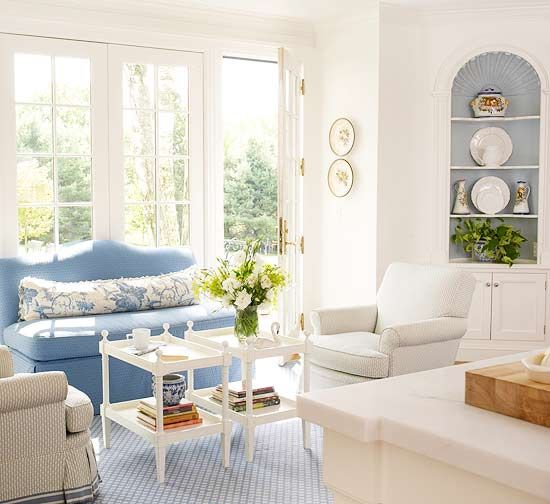 Cornflower blue is a great shade for softening a living area. This pale shade of blue works well with creamy white to create a soothing contrast and a country French feel. Try finding different patterns in this shade to see how they work together in the room.