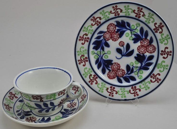 Antique Oversize Staffordshire Stick Spatter Pearlware Tea Cup Trio w Plate #Staffordshire