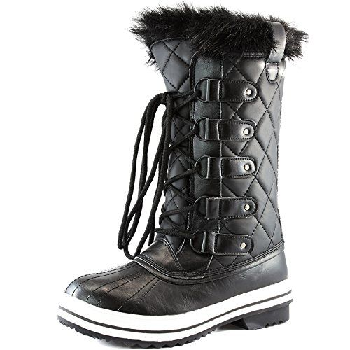 Women's DailyShoes Lace Up Knee High Artic Warm Fur Water Resistant Eskimo Snow Boots, 11