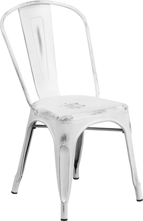 Patio Chairs Flash Furniture Distressed White Stackable Metal Chair With  Vertical Slat Back And Drain Hole Seat