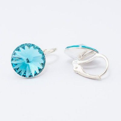 Swarovski Rivoli Earrings 12mm Light Turquoise  Dimensions: length: 1,7cm stone size: 12mm Weight ~ 3,18g ( 1 pair ) Metal : silver plated brass Stones: Swarovski Elements 1122 12mm Colour: Light Turquoise 1 package = 1 pair Price 16,90 PLN(about 4 EUR)