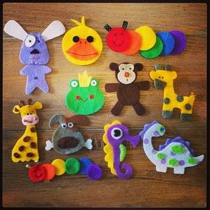Felt designs ready to sew onto singlets. All creatures great and small!